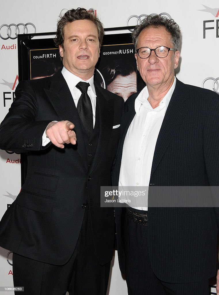 Actors Colin Firth and Geoffrey Rush attend the premiere of 'The King's Speech' and the 2010 AFI Fest at Grauman's Chinese Theatre on November 5, 2010 in Hollywood, California.