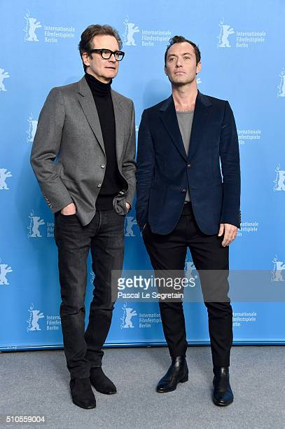 Actors Colin Firth and Jude Law attend the 'Genius' photo call during the 66th Berlinale International Film Festival Berlin at Grand Hyatt Hotel on...