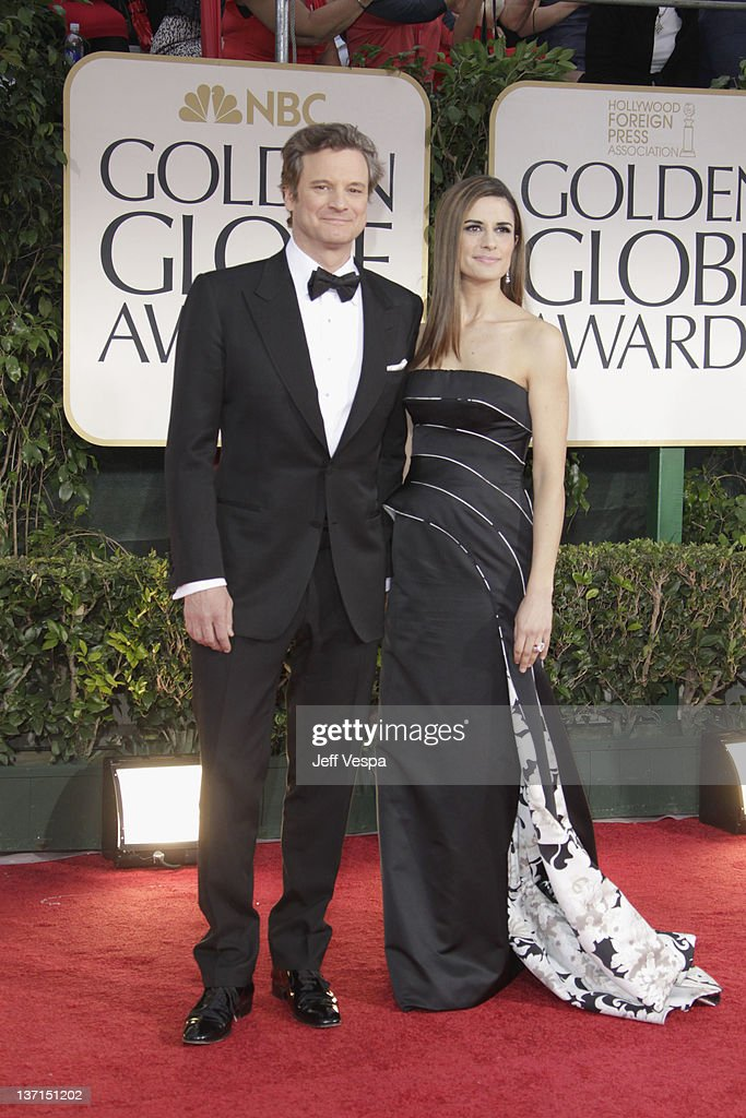 Actors Colin Firth and Livia Giuggioli arrive at the 69th Annual Golden Globe Awards held at the Beverly Hilton Hotel on January 15, 2012 in Beverly Hills, California.