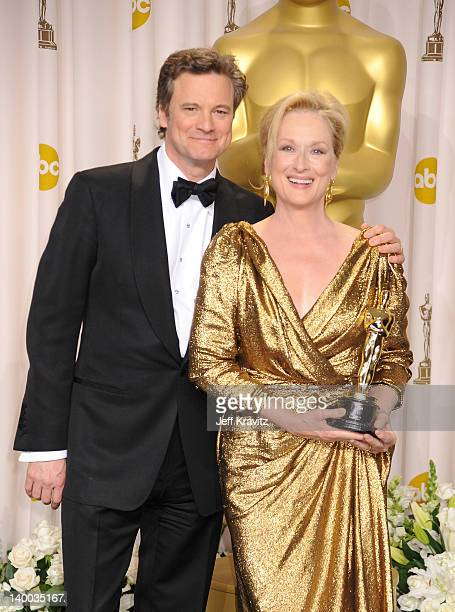 Actors Colin Firth and Meryl Streep pose in the press room at the 84th Annual Academy Awards held at the Hollywood Highland Center on February 26...