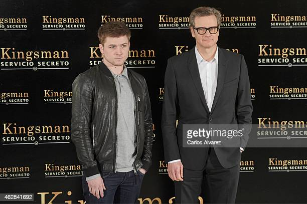 Actors Colin Firth and Taron Egerton attend 'Kingsman Servicio secreto' photocall at the Villamagna Hotel on February 6 2015 in Madrid Spain