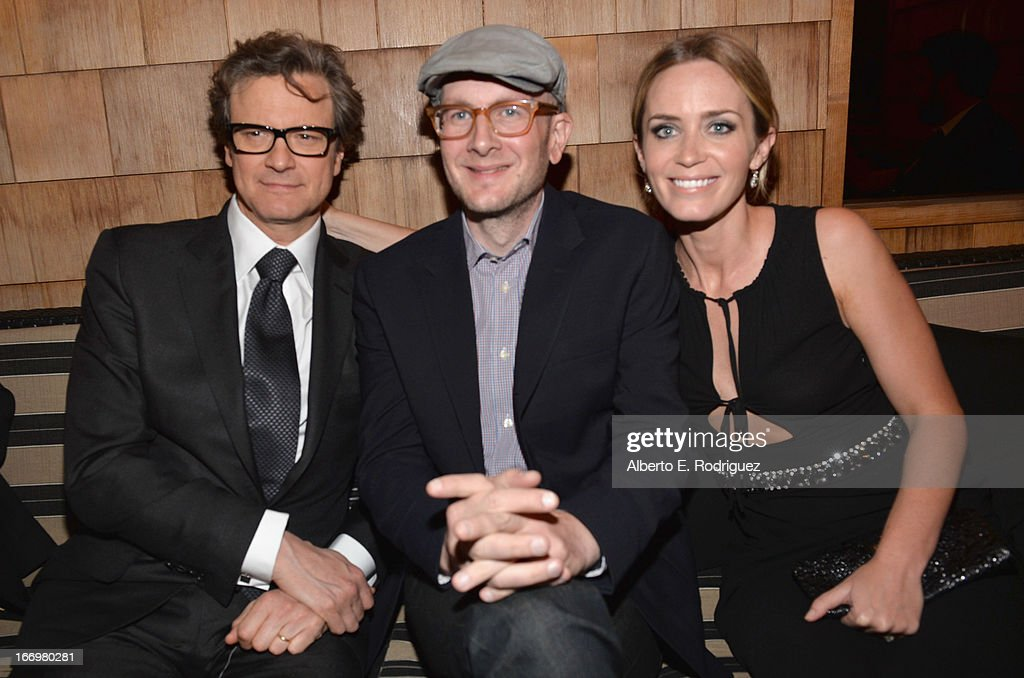 Actors Colin Firth, director Dante Ariola and Emily Blunt attend the after party for the premiere of Cinedigm's 'Arthur Newman' at on April 18, 2013 in Hollywood, California.