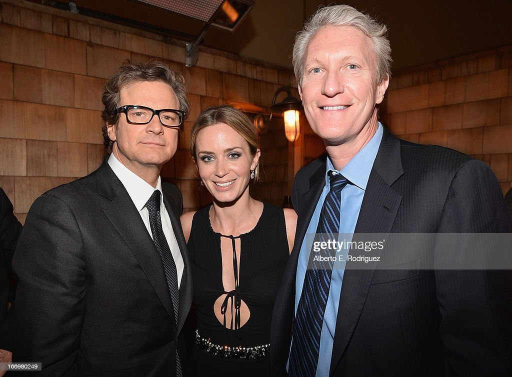 Actors Colin Firth, Emily Blunt and Cinedigm CEO Chris McGurk attend the after party for the premiere of Cinedigm's 'Arthur Newman' at on April 18, 2013 in Hollywood, California.