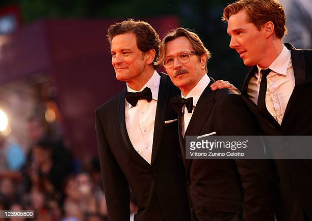Actors Colin Firth Gary Oldman and Benedict Cumberbatch attend the 'Tinker Tailor Soldier Spy' premiere at the Palazzo del Cinema during the 68th...