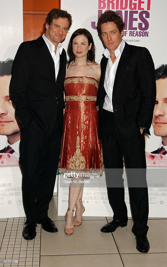 Actors Colin Firth, Renee Zellweger and Hugh Grant arrive at the UK Gala Premiere of 'Bridget Jones: The Edge Of Reason' at the Odeon Leicester Square on November 9, 2004 in London.
