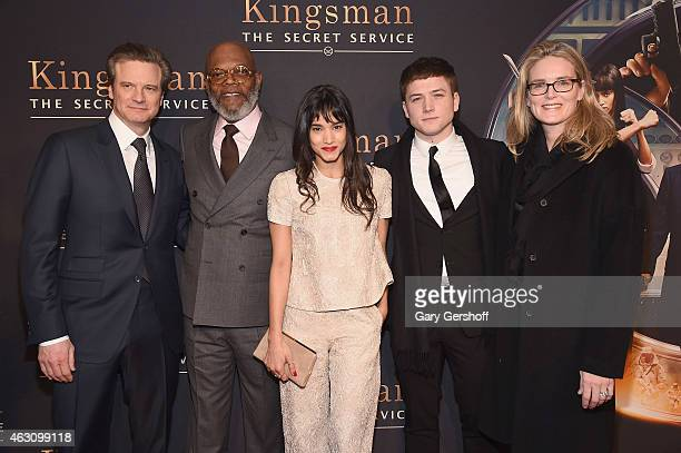 Actors Colin Firth Samuel L Jackson Sofia Boutella Taron Egerton and President of Fox Production Emma Watts attend 'Kingsman The Secret Service' New...
