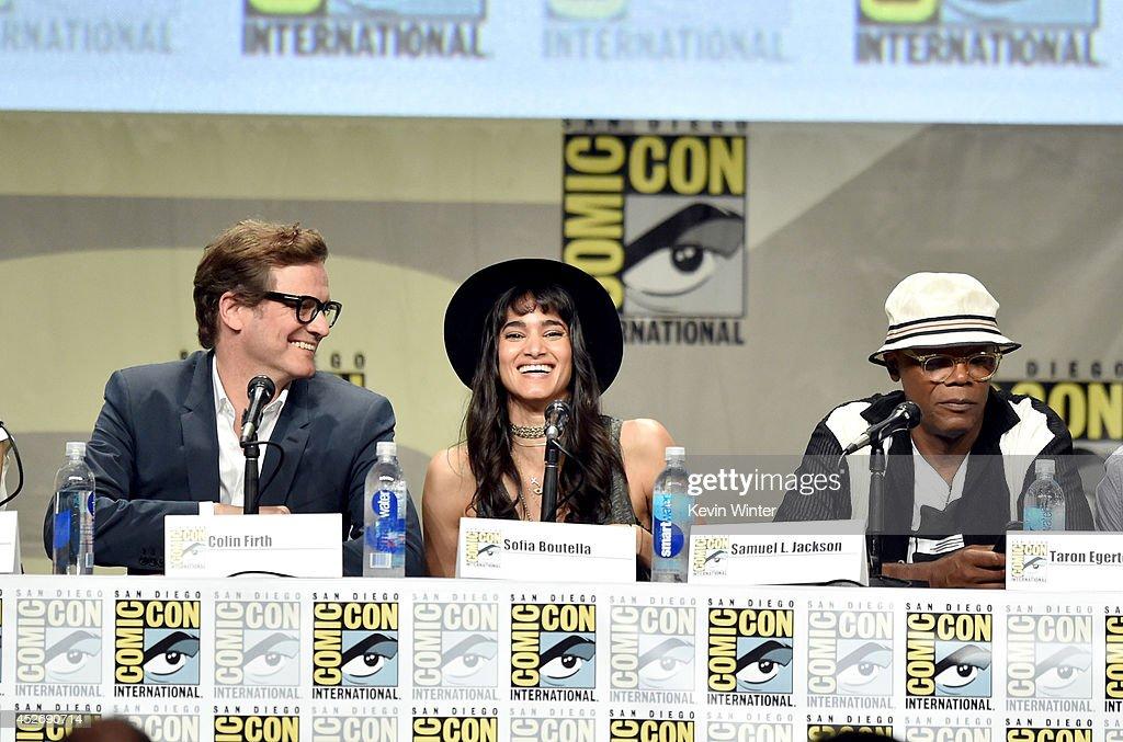 Actors Colin Firth, Sofia Boutella and Samuel L. Jackson attend the 20th Century Fox presentation during Comic-Con International 2014 at San Diego Convention Center on July 25, 2014 in San Diego, California.