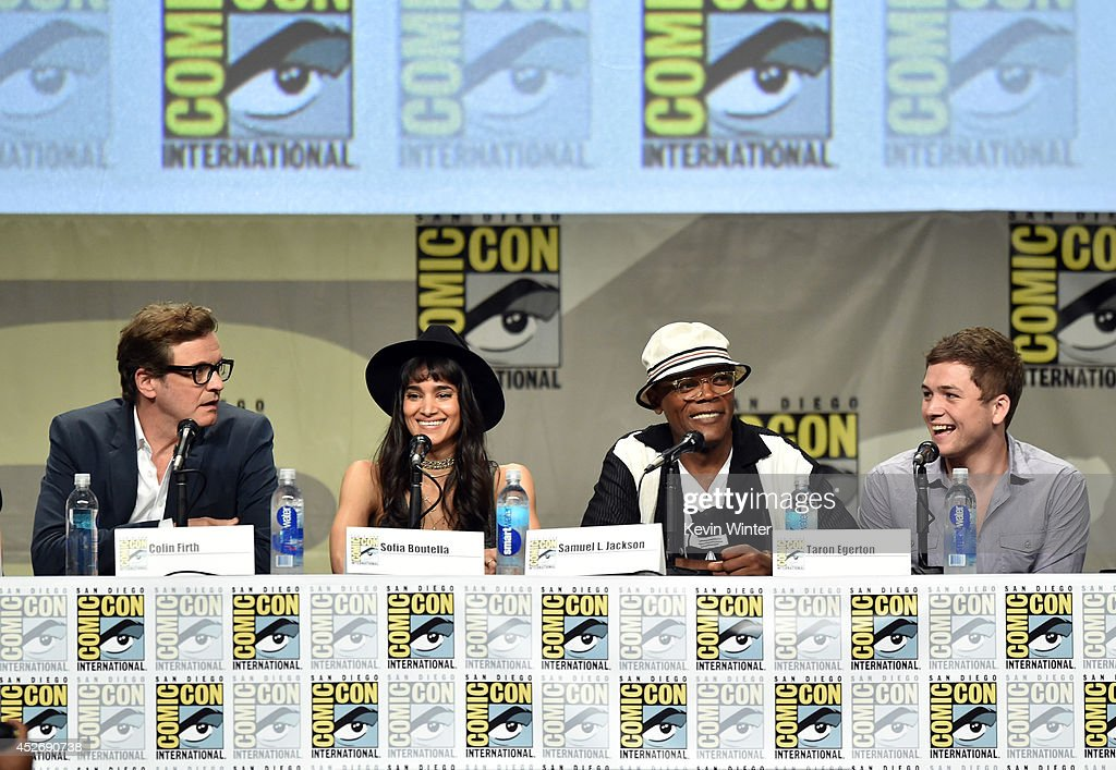 Actors Colin Firth, Sofia Boutella, Samuel L. Jackson and Taron Egerton attend the 20th Century Fox presentation during Comic-Con International 2014 at San Diego Convention Center on July 25, 2014 in San Diego, California.