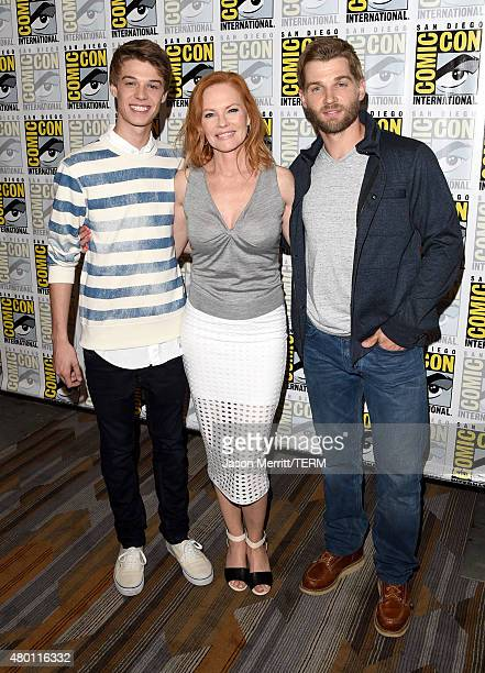 Actors Colin Ford Marg Helgenberger and Mike Vogel attend the CBS Television Studios press room during ComicCon International 2015 at the Hilton...