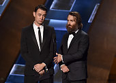 Actors Colin Hanks and Will Forte speak onstage during the 67th Annual Primetime Emmy Awards at Microsoft Theater on September 20 2015 in Los Angeles...