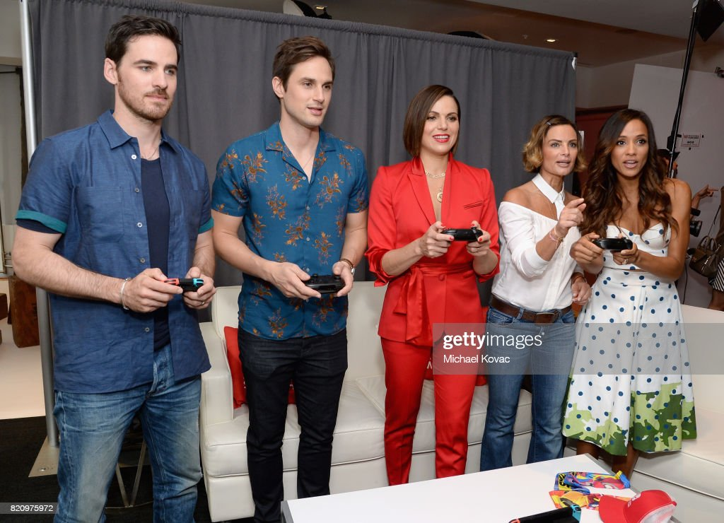 Actors Colin O'Donoghue, Andrew J. West, Lana Parrilla, Gabrielle Anwar, and Dania Ramirez from the television series 'Once Upon A Time' stopped by Nintendo at the TV Insider Lounge to check out Nintendo Switch during Comic-Con International at Hard Rock Hotel San Diego on July 22, 2017 in San Diego, California.