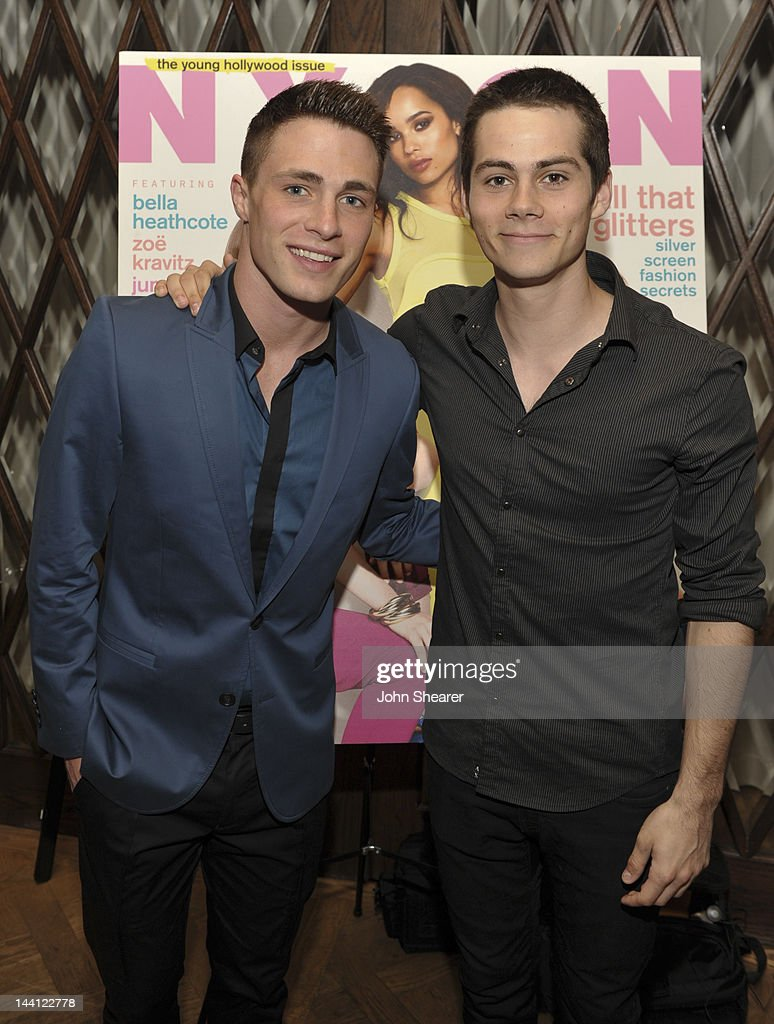 Actors <a gi-track='captionPersonalityLinkClicked' href=/galleries/search?phrase=Colton+Haynes&family=editorial&specificpeople=4282136 ng-click='$event.stopPropagation()'>Colton Haynes</a> and <a gi-track='captionPersonalityLinkClicked' href=/galleries/search?phrase=Dylan+O%27Brien&family=editorial&specificpeople=7115315 ng-click='$event.stopPropagation()'>Dylan O'Brien</a> attend NYLON Magazine And Tommy Girl Celebrate The Annual May Young Hollywood Issue - Dinner at Hollywood Roosevelt Hotel on May 9, 2012 in Hollywood, California.