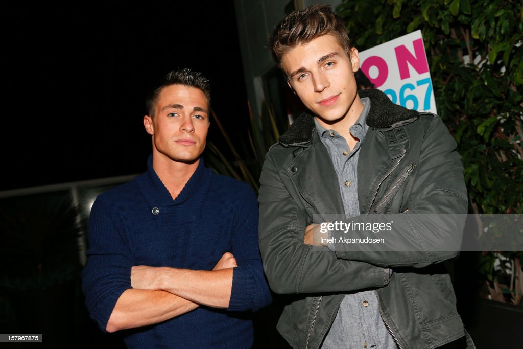 Actors <a gi-track='captionPersonalityLinkClicked' href=/galleries/search?phrase=Colton+Haynes&family=editorial&specificpeople=4282136 ng-click='$event.stopPropagation()'>Colton Haynes</a> (L) and <a gi-track='captionPersonalityLinkClicked' href=/galleries/search?phrase=Nolan+Gerard+Funk&family=editorial&specificpeople=5626391 ng-click='$event.stopPropagation()'>Nolan Gerard Funk</a> attend the Celebration of NYLON's December/January Cover Star Lucy Hale Presented by bebe at Andaz Hotel on December 7, 2012 in Los Angeles, California.