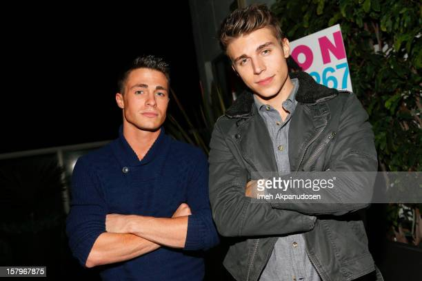 Actors Colton Haynes and Nolan Gerard Funk attend the Celebration of NYLON's December/January Cover Star Lucy Hale Presented by bebe at Andaz Hotel...