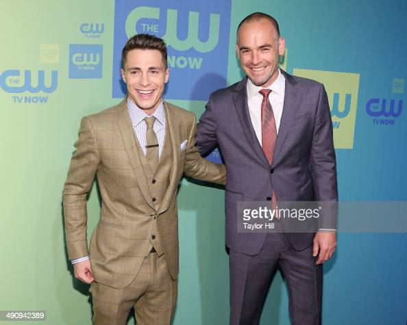 Actors Colton Haynes and Paul Blackthorne attend the CW Network's New York 2014 Upfront Presentation at The London Hotel on May 15 2014 in New York...