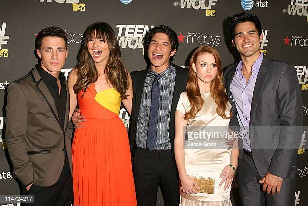 Actors Colton Haynes Crystal Reed Tyler Posey Holland Roden and Tyler Hoechlin arrive at the series premiere of MTV's 'Teen Wolf' at The Roosevelt...