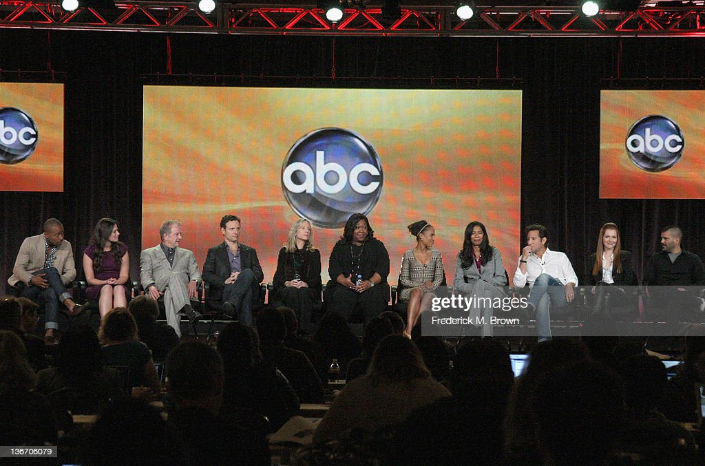 Actors Columbus Short, Katie Lowes, Jeff Perry, Tony Goldwyn, Executive producer Betsy Beers, Creator and Executive Producer Shonda Rhimes, actress Kerry Washington, Co-Executive producer Judy Smith and actors Henry Ian Cusick Darby Stanchfield and Guillermo Diaz speak during the 'Scandal' panel during the ABC portion of the 2012 Winter TCA Tour held at The Langham Huntington Hotel and Spa on January 10, 2012 in Pasadena, California.