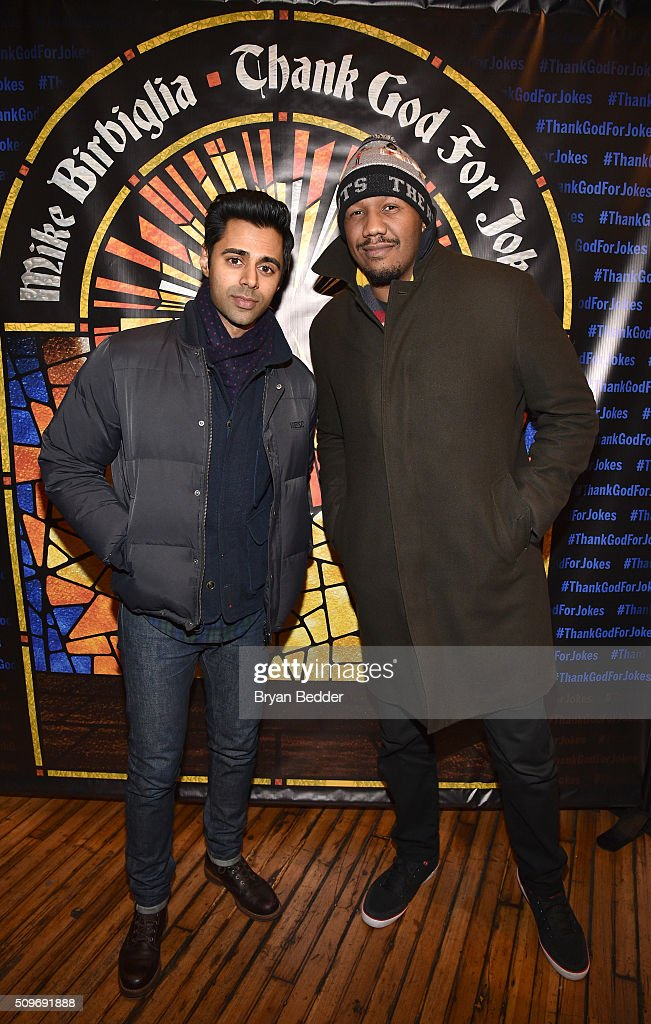 Actors, comedians Hasan Minhaj and Travon Free attend 'Mike Birbiglia: Thank God For Jokes' Opening Night at the Lynn Redgrave Theatre on February 11, 2016 in New York City.