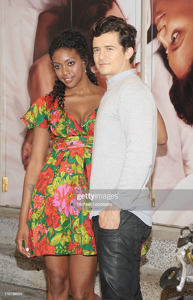 Actors Condola Rashad (L) and <a gi-track='captionPersonalityLinkClicked' href=/galleries/search?phrase=Orlando+Bloom&family=editorial&specificpeople=202520 ng-click='$event.stopPropagation()'>Orlando Bloom</a> appear for the 'Romeo And Juliet' Broadway photo call at Richard Rodgers Theatre on August 7, 2013 in New York City.
