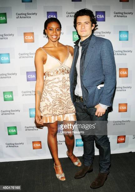 Actors Condola Rashad and Orlando Bloom attend the 29th Annual Artios Awards at XL Nightclub on November 18 2013 in New York City