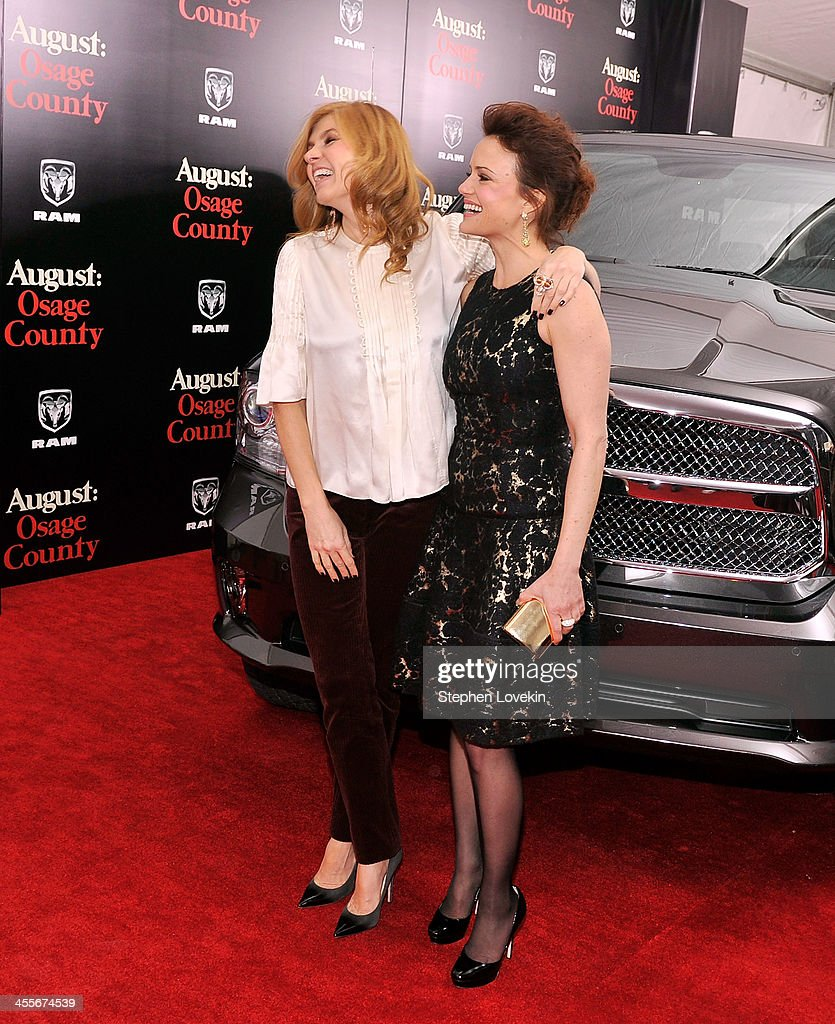 Actors <a gi-track='captionPersonalityLinkClicked' href=/galleries/search?phrase=Connie+Britton&family=editorial&specificpeople=234699 ng-click='$event.stopPropagation()'>Connie Britton</a> (L) and <a gi-track='captionPersonalityLinkClicked' href=/galleries/search?phrase=Carla+Gugino&family=editorial&specificpeople=207137 ng-click='$event.stopPropagation()'>Carla Gugino</a> attend 'August: Osage County' New York Ciity premiere sponsored by Ram at Ziegfeld Theatre on December 12, 2013 in New York City.