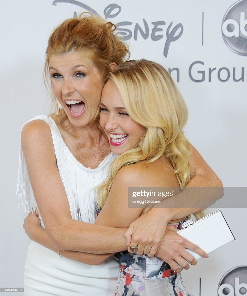 Actors <a gi-track='captionPersonalityLinkClicked' href=/galleries/search?phrase=Connie+Britton&family=editorial&specificpeople=234699 ng-click='$event.stopPropagation()'>Connie Britton</a> and <a gi-track='captionPersonalityLinkClicked' href=/galleries/search?phrase=Hayden+Panettiere&family=editorial&specificpeople=204227 ng-click='$event.stopPropagation()'>Hayden Panettiere</a> arrive at the 2012 Disney ABC Television TCA summer press tour party at The Beverly Hilton Hotel on July 27, 2012 in Beverly Hills, California.