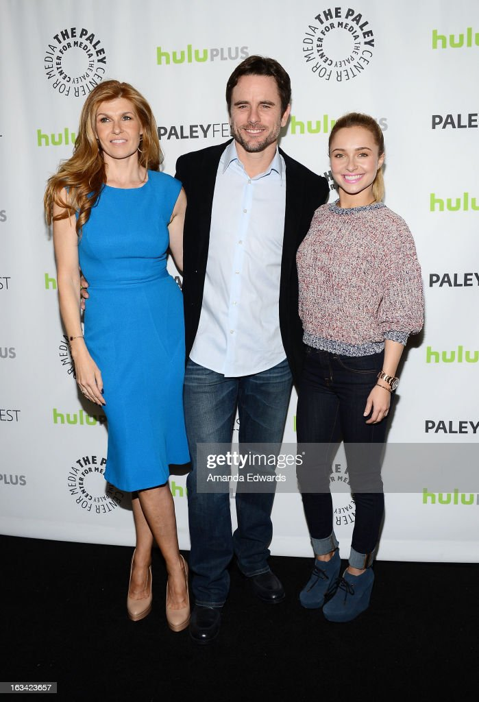 Actors <a gi-track='captionPersonalityLinkClicked' href=/galleries/search?phrase=Connie+Britton&family=editorial&specificpeople=234699 ng-click='$event.stopPropagation()'>Connie Britton</a>, Charles Esten and <a gi-track='captionPersonalityLinkClicked' href=/galleries/search?phrase=Hayden+Panettiere&family=editorial&specificpeople=204227 ng-click='$event.stopPropagation()'>Hayden Panettiere</a> arrive at the 30th Annual PaleyFest: The William S. Paley Television Festival featuring 'Nashville' at the Saban Theatre on March 9, 2013 in Beverly Hills, California.