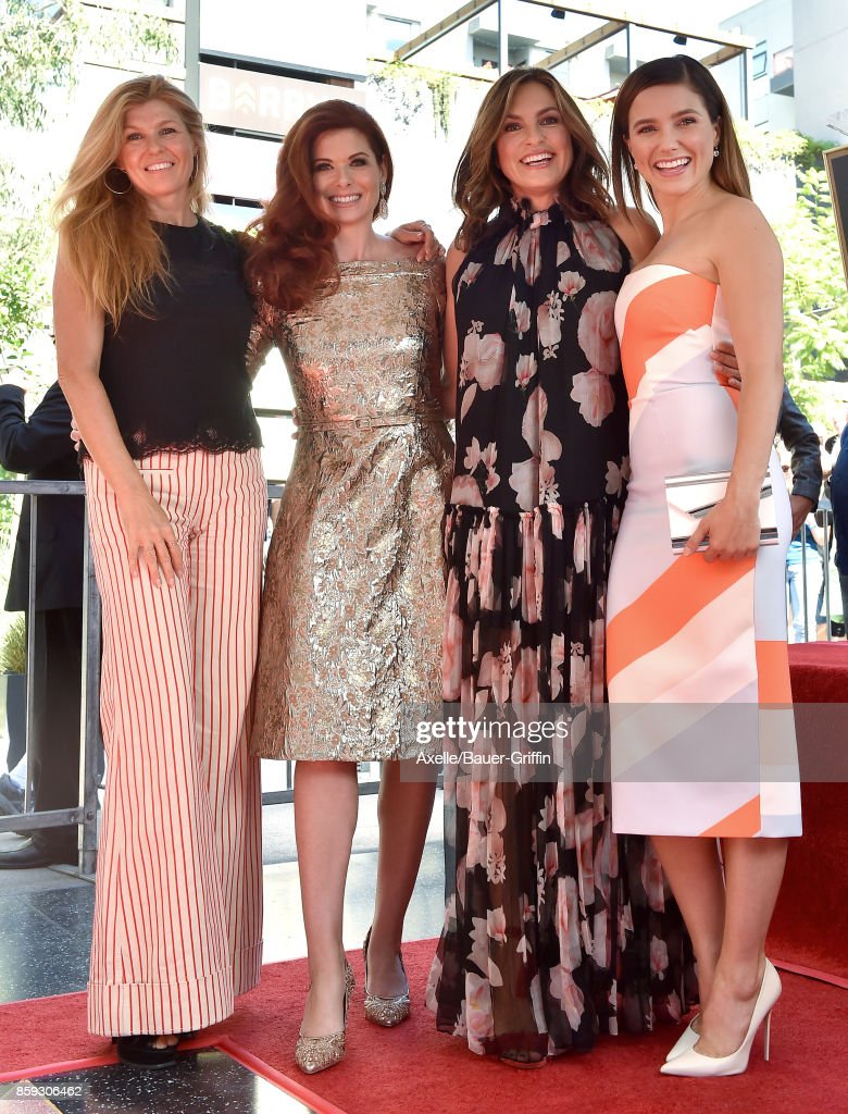 Actors Connie Britton, Debra Messing, Mariska Hargitay and Sophia Bush attend the ceremony honoring Debra Messing with star on the Hollywood Walk of Fame on October 6, 2017 in Hollywood, California.