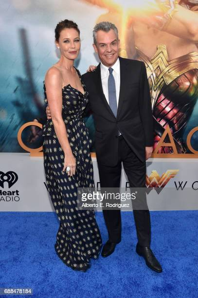 Actors Connie Nielsen and Danny Huston attend the premiere of Warner Bros Pictures' 'Wonder Woman' at the Pantages Theatre on May 25 2017 in...