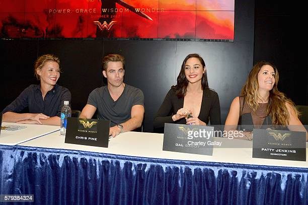 Actors Connie Nielsen Chris Pine Gal Gadot and director Patty Jenkins from the 2017 feature film Wonder Woman sign autographs for fans in DC's 2016...