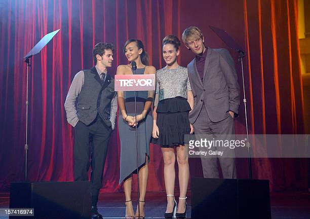 Actors Connor Paolo Ashley Madekwe Christa B Allen and Gabriel Mann speak onstage at 'Trevor Live' honoring Katy Perry and Audi of America for The...