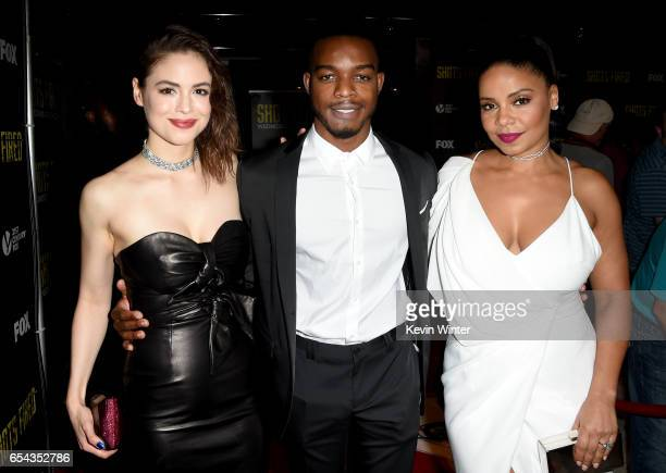 Actors Conor Leslie Stephan James and Sanaa Lathan arrive at a screening and QA for FOX TV's 'Shots Fired' at the Pacific Design Center on March 16...