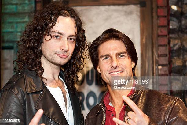 Actors Constantine Maroulis and Tom Cruise pose onstage for 'Rock of Ages' at the Pantages Theatre on February 19 2011 in Hollywood California