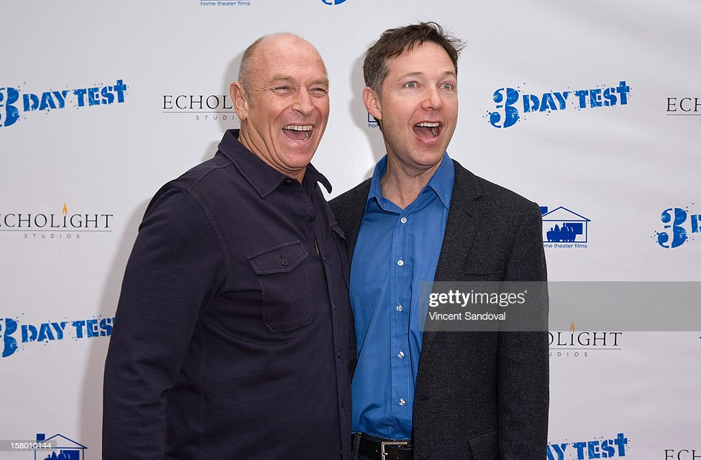 Actors <a gi-track='captionPersonalityLinkClicked' href=/galleries/search?phrase=Corbin+Bernsen&family=editorial&specificpeople=211428 ng-click='$event.stopPropagation()'>Corbin Bernsen</a> and George Newbern attend the Los Angeles Premiere of '3 Day Test' at Downtown Independent Theatre on December 8, 2012 in Los Angeles, California.