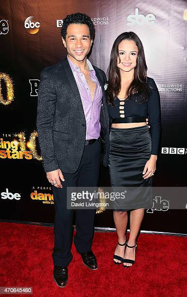 Actors Corbin Bleu and Sasha Clements attend the 10th anniversary of ABC's 'Dancing with the Stars' at Greystone Manor on April 21 2015 in West...