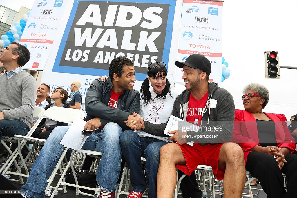 Actors <a gi-track='captionPersonalityLinkClicked' href=/galleries/search?phrase=Corbin+Bleu&family=editorial&specificpeople=651888 ng-click='$event.stopPropagation()'>Corbin Bleu</a>, <a gi-track='captionPersonalityLinkClicked' href=/galleries/search?phrase=Pauley+Perrette&family=editorial&specificpeople=625846 ng-click='$event.stopPropagation()'>Pauley Perrette</a>, and <a gi-track='captionPersonalityLinkClicked' href=/galleries/search?phrase=Jai+Rodriguez+-+Actor&family=editorial&specificpeople=202956 ng-click='$event.stopPropagation()'>Jai Rodriguez</a> attend the 29th Annual AIDS Walk LA on October 13, 2013 in West Hollywood, California.