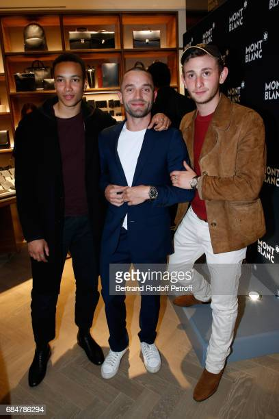 Actors Corentin Fila Cedric Kahn and Kacey MottetKlein attend the Montblanc ChampsElysees Flagship Reopening on May 18 2017 in Paris France