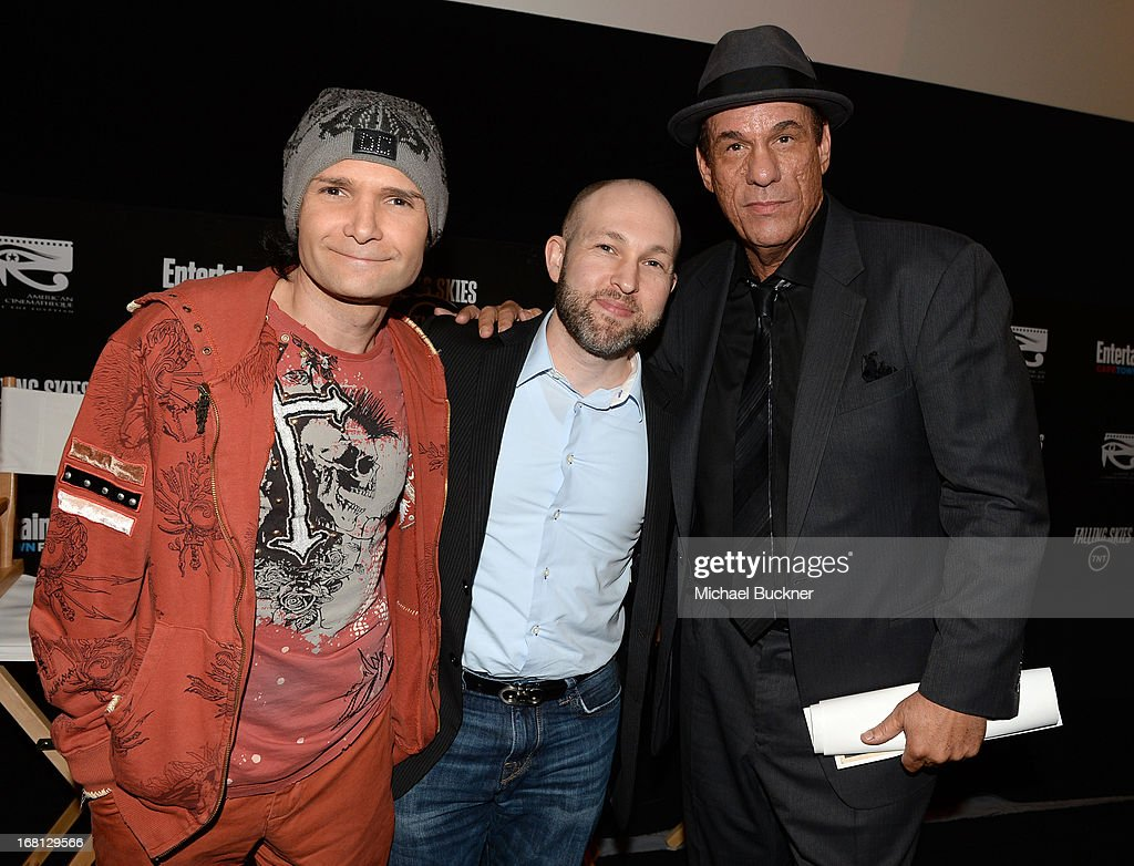 Actors Corey Feldman Jeff Cohen and Robert Davi attend the screening for 'Goonies' during the Entertainment Weekly CapeTown Film Festival Presented...