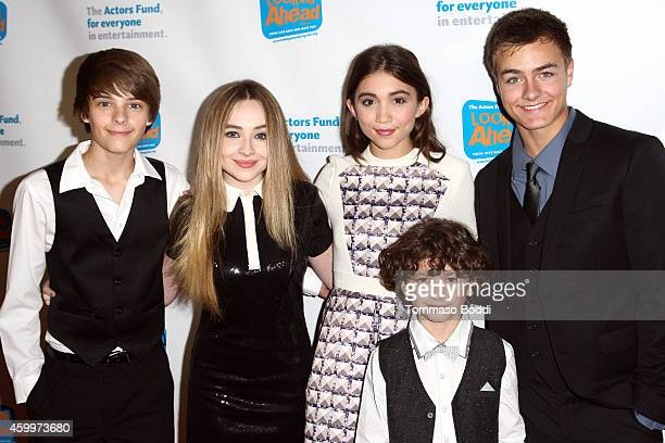 Actors Corey Fogelmanis Sabrina Carpenter Rowan Blanchard August Maturo and Peyton Meyer attend The Actor's Fund 2014 The Looking Ahead Awards held...