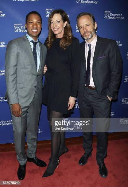 Actors Corey Hawkins Allison Janney and John Benjamin Hickey attend the 'Six Degrees of Separation' Broadway opening night after party at Brasserie 8...