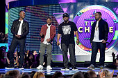 Actors Corey Hawkins Jason Mitchell actor/recording artist Ice Cube and actor O'Shea Jackson Jr speak onstage during the Teen Choice Awards 2015 at...