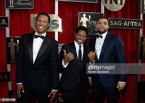 Actors Corey Hawkins Jason Mitchell and O'Shea Jackson Jr attend the 22nd Annual Screen Actors Guild Awards at The Shrine Auditorium on January 30...