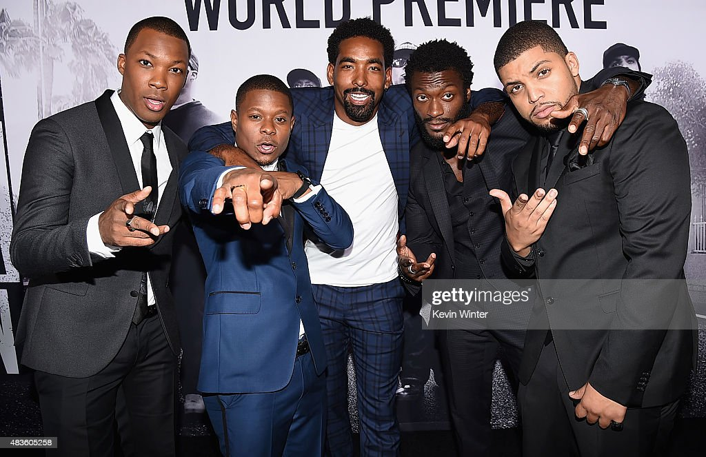 Actors Corey Hawkins Jason Mitchell Marlon Yates Jr Aldis Hodge and O'Shea Jackson Jr attend the Universal Pictures and Legendary Pictures' premiere...