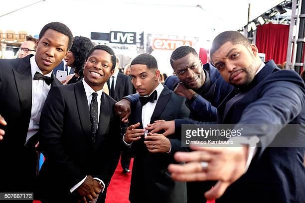 Actors Corey Hawkins Jason Mitchell Neil Brown Jr Aldis Hodge and O'Shea Jackson Jr attend The 22nd Annual Screen Actors Guild Awards at The Shrine...