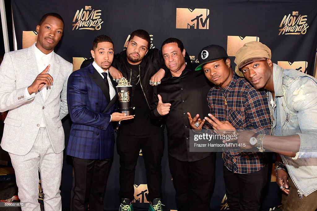 Actors Corey Hawkins, Neil Brown Jr., and O'Shea Jackson Jr., DJ Yella of N.W.A, actors Jason Mitchell and Aldis Hodge, winners of the True Story award for 'Straight Outta Compton,' pose during the 2016 MTV Movie Awards at Warner Bros. Studios on April 9, 2016 in Burbank, California. MTV Movie Awards airs April 10, 2016 at 8pm ET/PT.