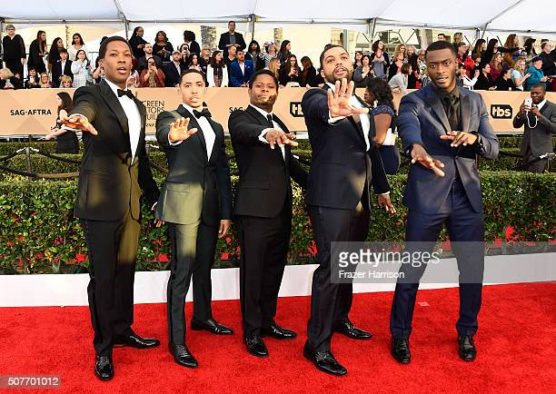 Actors Corey Hawkins Neil Brown Jr Jason Mitchell O'Shea Jackson Jr and Aldis Hodge attend the 22nd Annual Screen Actors Guild Awards at The Shrine...