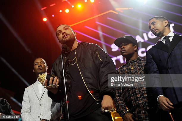 Actors Corey Hawkins O'Shea Jackson Jr Jason Mitchell and Neil Brown Jr accept the True Story award for 'Straight Outta Compton' onstage during the...