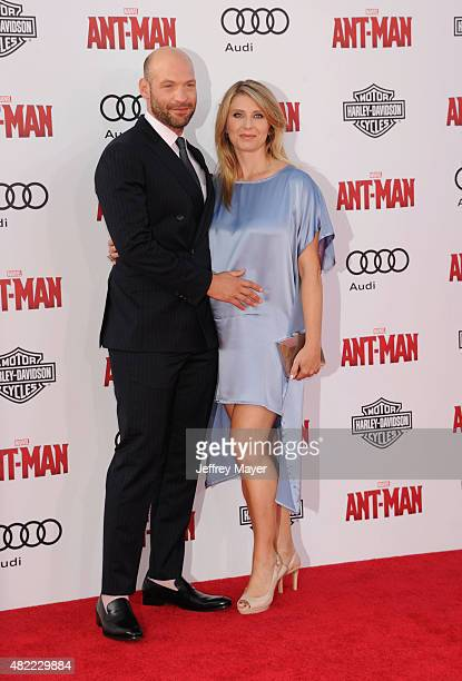 Actors Corey Stoll and Nadia Bowers arrive at the Los Angeles premiere of Marvel Studios 'AntMan' at Dolby Theatre on June 29 2015 in Hollywood...