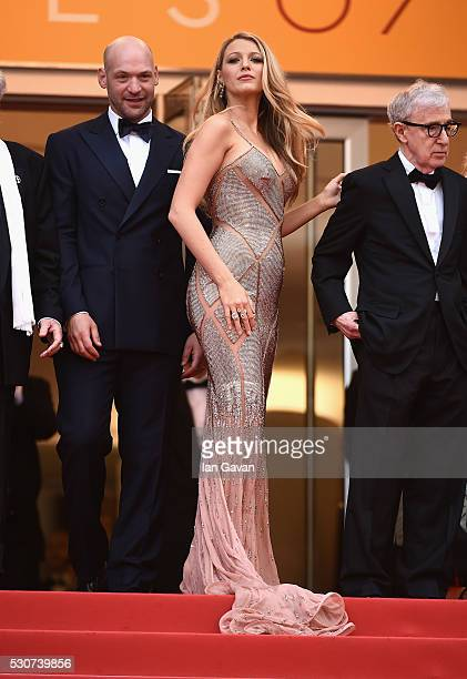 Actors Corey Stoll Blake Lively and Director Woody Allen attend the 'Cafe Society' premiere and the Opening Night Gala during the 69th annual Cannes...