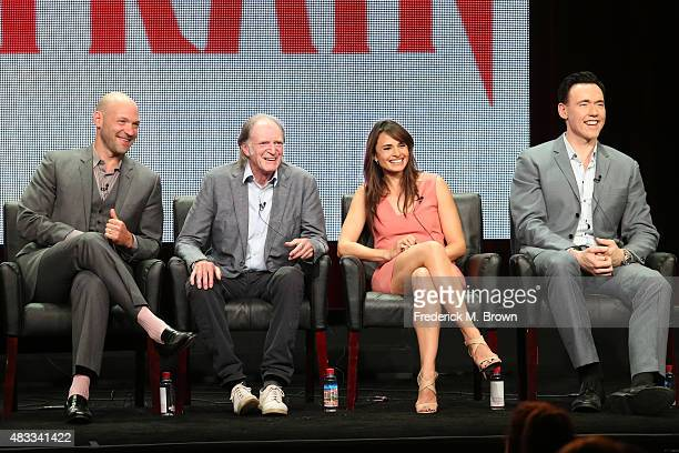 Actors Corey Stoll David Bradley Mia Maestro and Kevin Durand speak onstage during 'The Strain' panel discussion at the FX portion of the 2015 Summer...